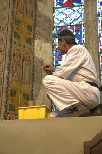 July 20917 Wall-painting survey at East end of Church
